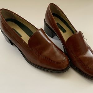 G.H. Bass Brown Leather Loafers Block Heal